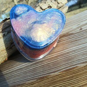 Two tone Orange and neon pink epoxy resin heart box